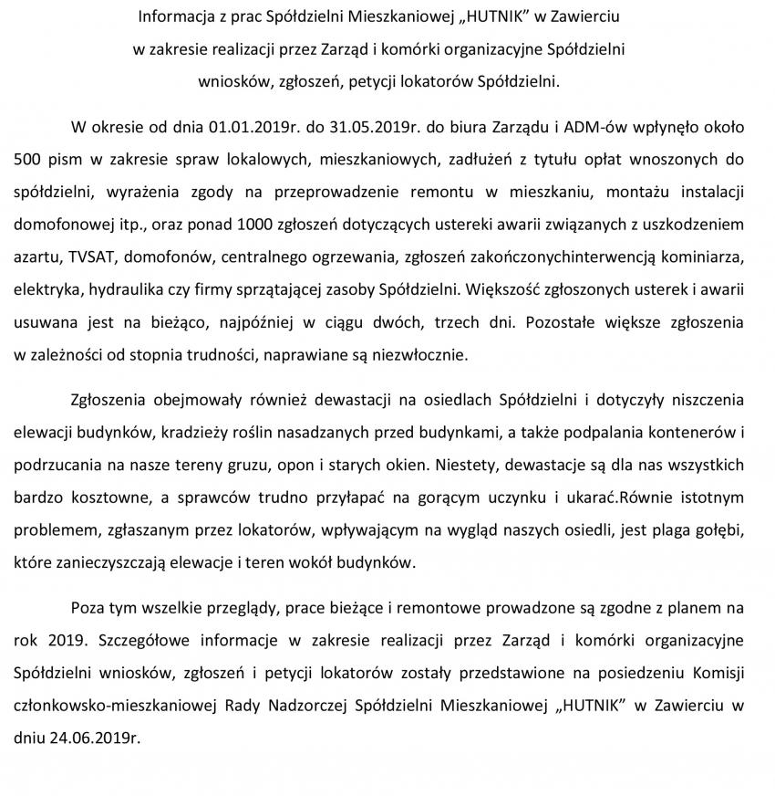 """Informacja z prac Spółdzielni Mieszkaniowej """"HUTNIK"""" w Zawierciu"""