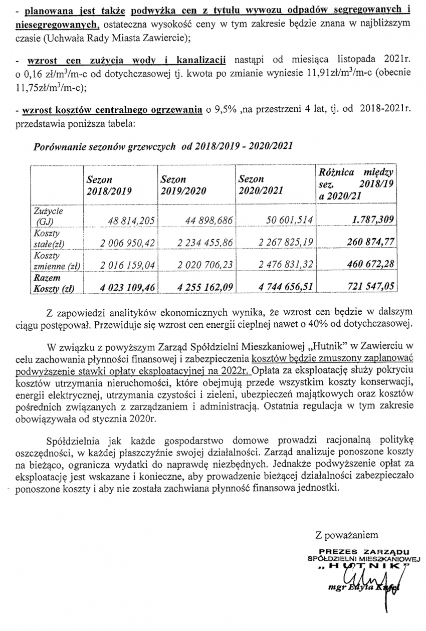 Informacja dotycząca planowanych kosztów niezależnych