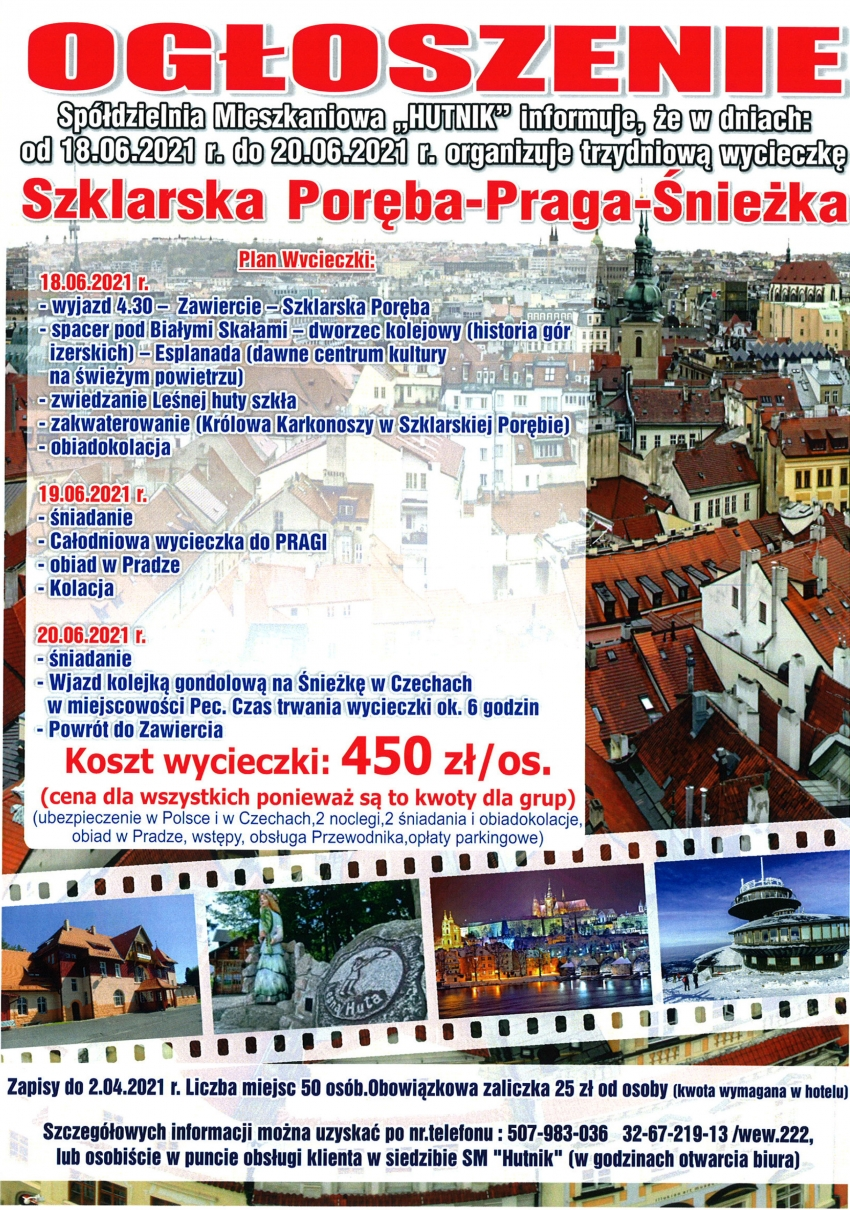 Wycieczka Szklarska Poręba - Praga - Śnieżka